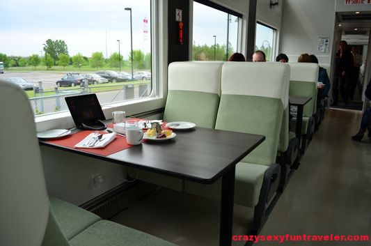 my seat on Le Massif de Charlevoix train