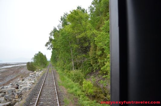 the view from the back of Le Massif de Charlevoix train