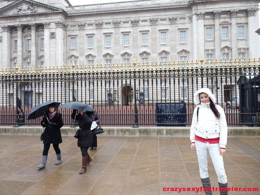 in front of the Buckingham Palace