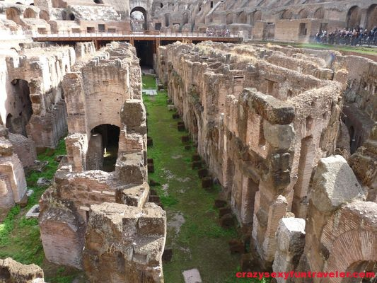 inside the Colosseum in Rome ruins
