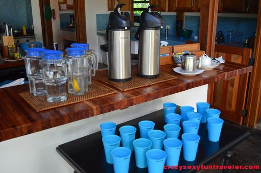 cups with name tags and drinking area at the Blue Osa