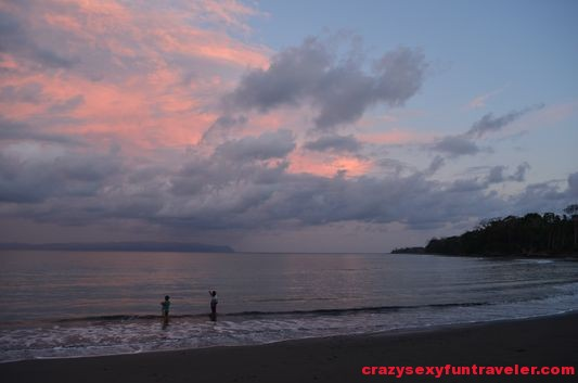 fishermen at sunset at Tamales beach Blue Osa