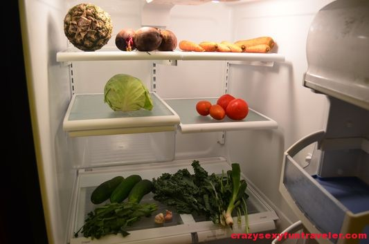 my fridge at Red Frog Beach villa loaded with veggies
