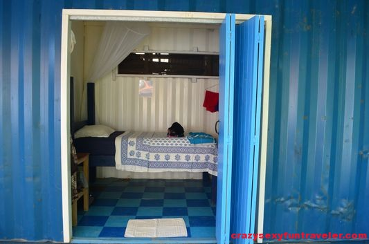my volunteer room at Blue Osa shipping container