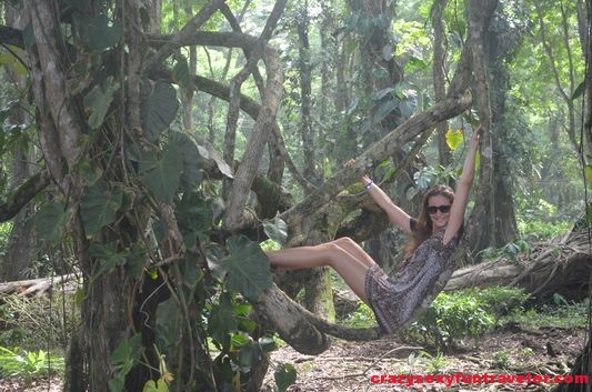 Crazy sexy fun traveler in Costa Rica jungle