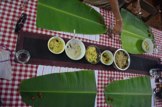 traditional Kerala meal on banana leaf Wayanad homestay Pranavam(131)