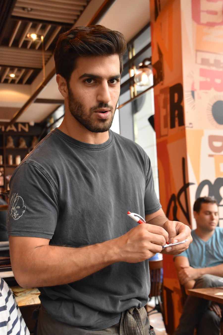 cute waiter in Max Brenner Tel Aviv (4)