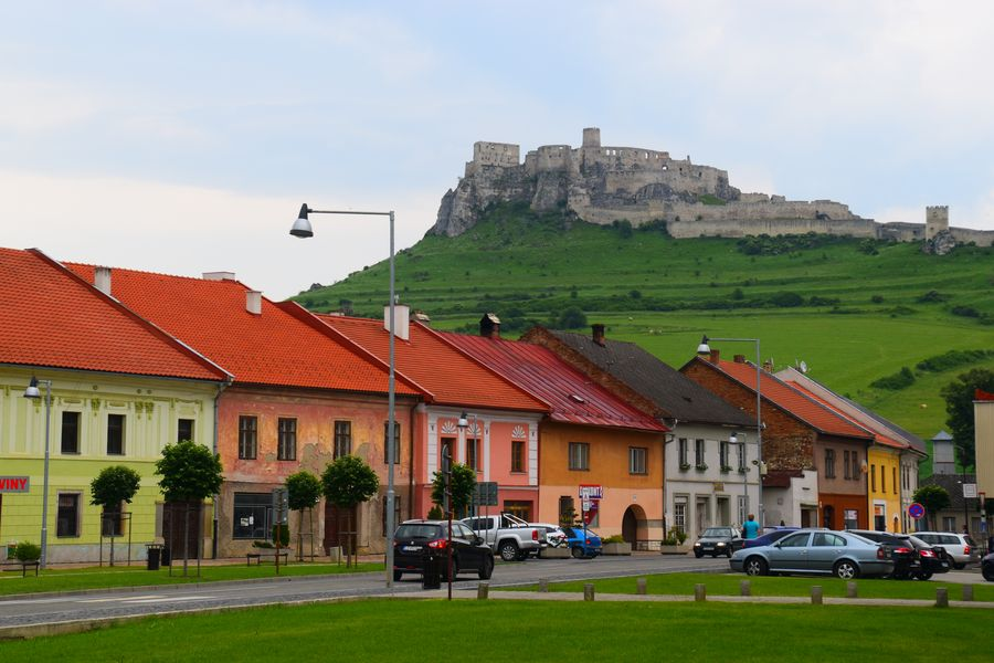 the Spis castle seen from the Spisske Podhradie Marianske namestie