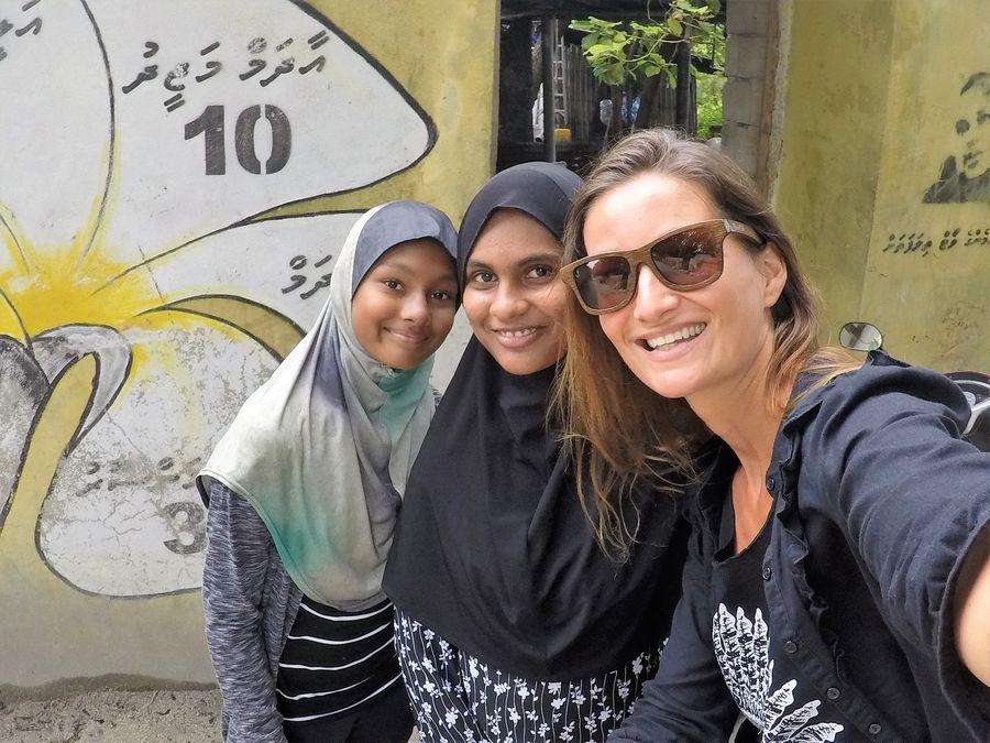 With local girls on Thoddoo Maldives