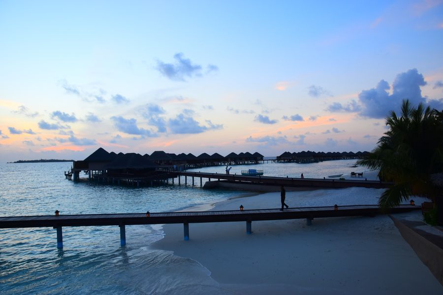 Maldives - Adaaran Prestige Vadoo resort at sunset time