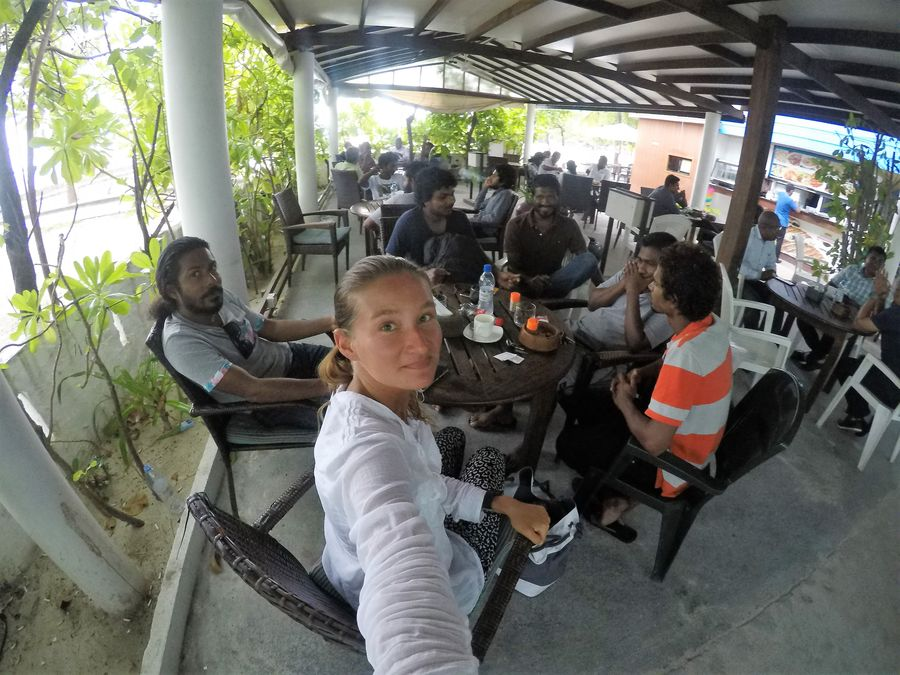 at a coffee shop with locals in Maldives