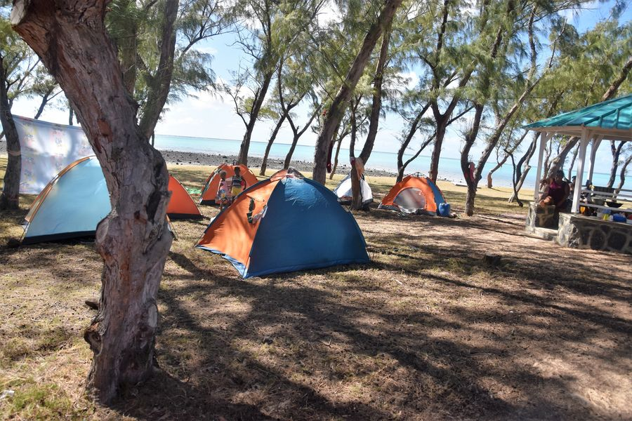 The locals camping on Rodrigues island