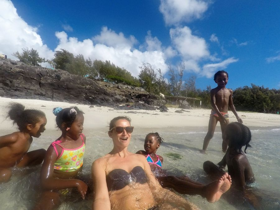 playing with local kids at Graviers beach Rodrigues island