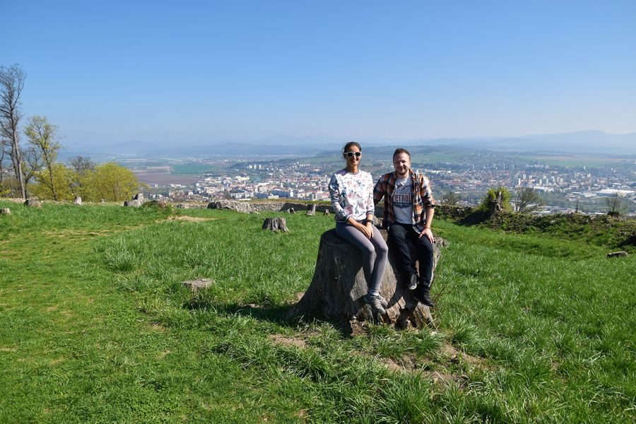 with Rado and the view of Zvolen behind us