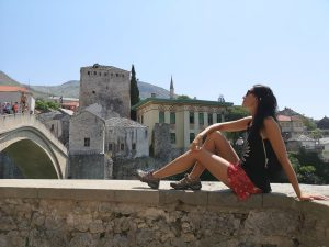 by the Old Bridge in Mostar