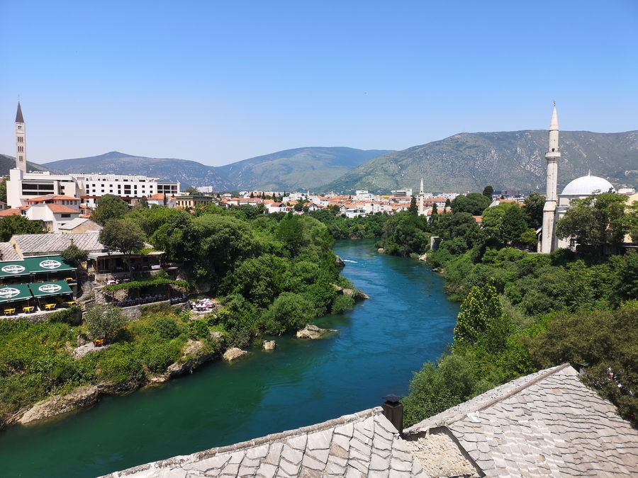 a church and a mosque in Mostar