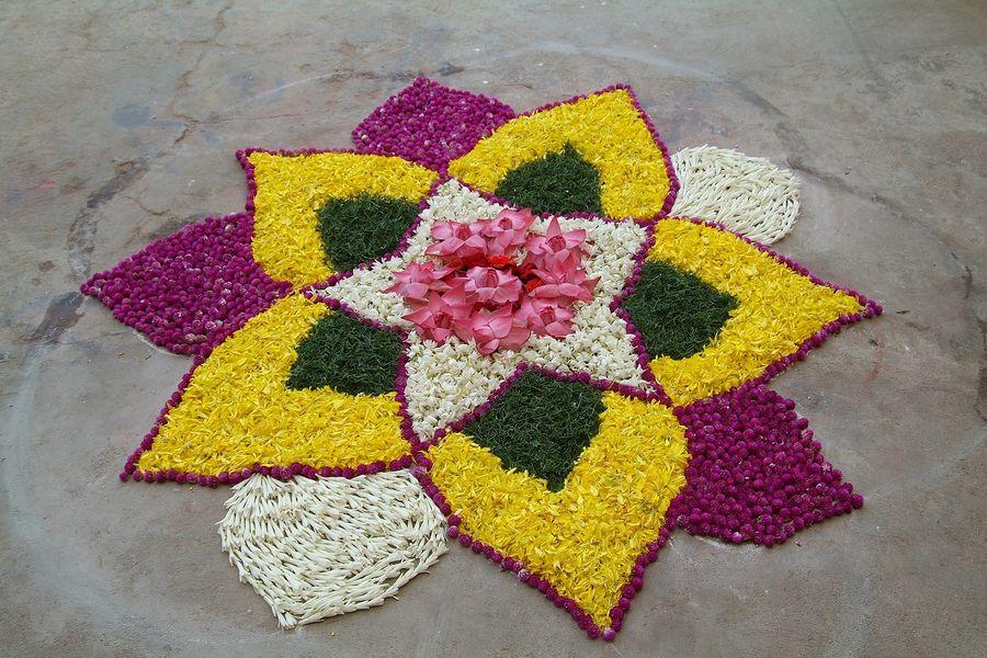 stunning flower rangoli