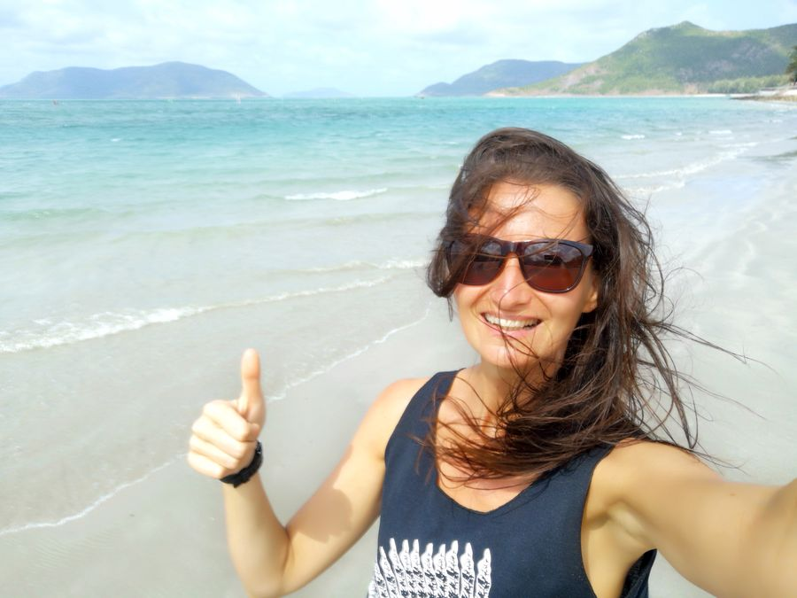 crazy sexy fun traveler on An Hai beach Con Dao