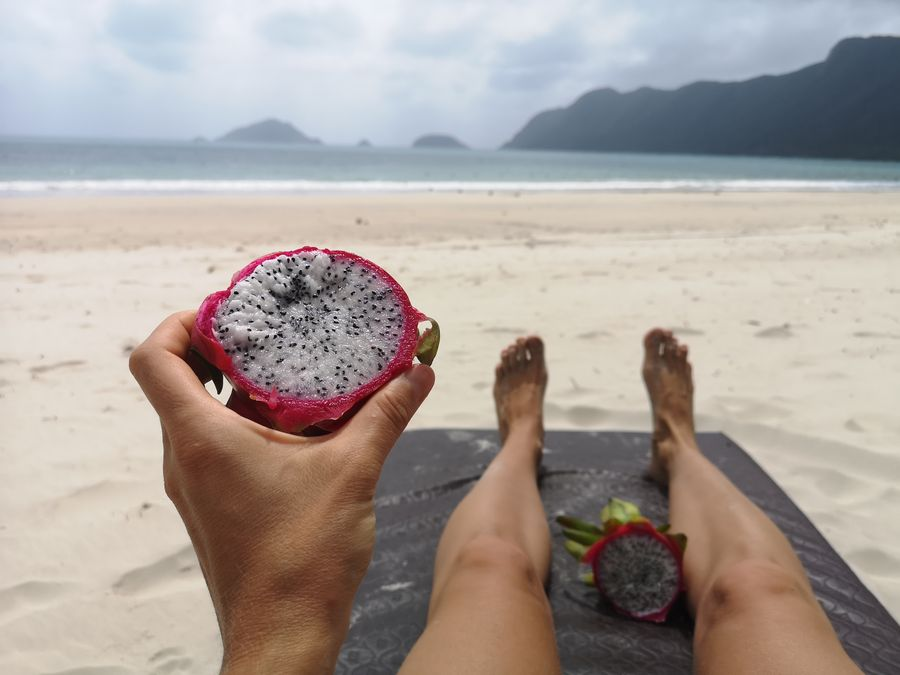 dragon fruit on An Hai beach Con Dao