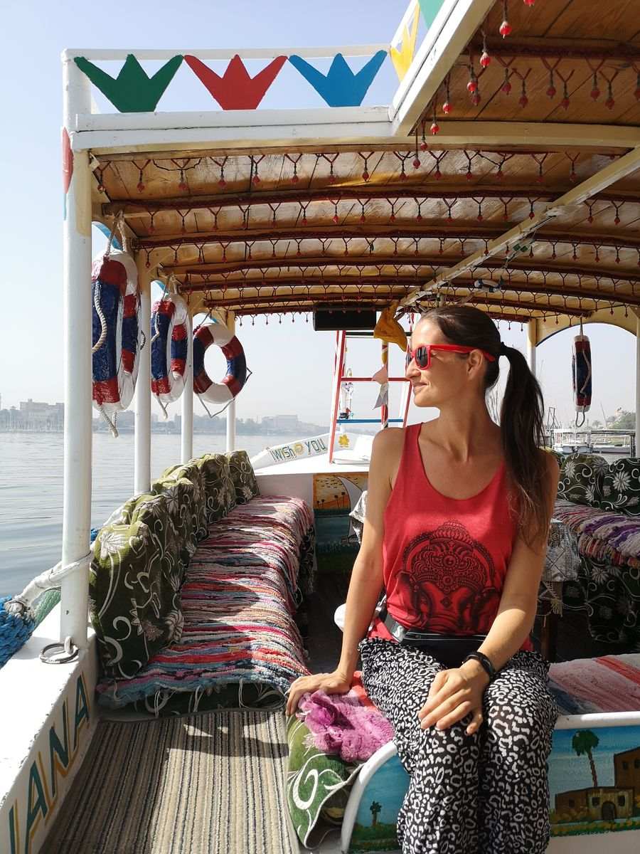 on a boat from West bank to East bank in Luxor