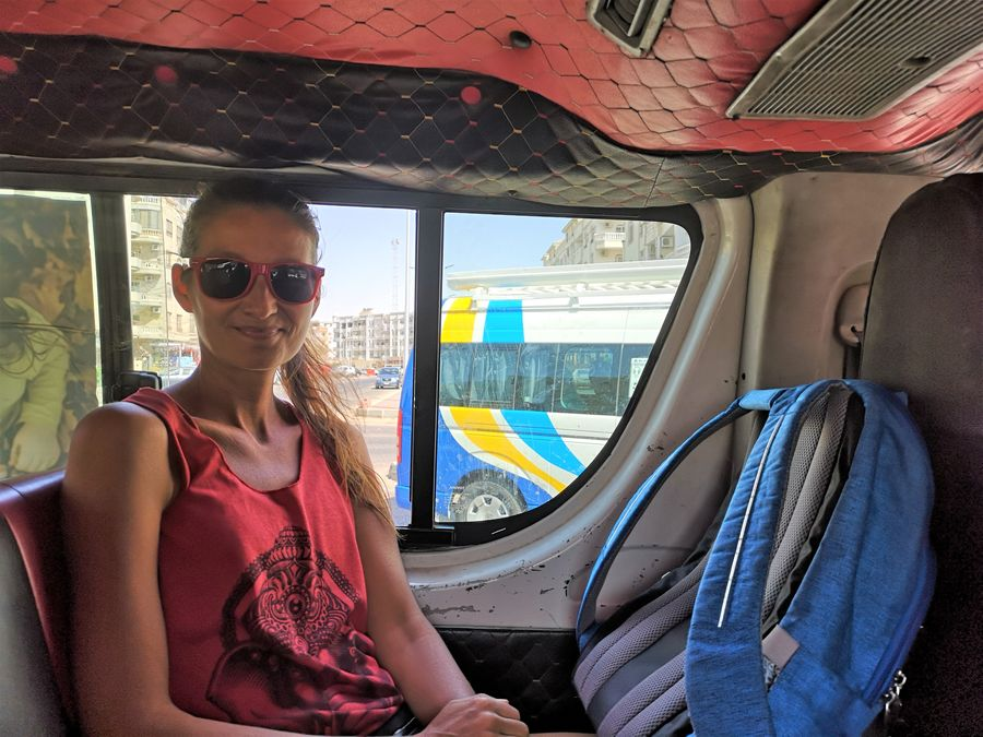 on a local minivan in Hurghada